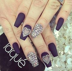 Laque Nail Bar Matt Black Heat Diamond Gem Nails Dope try it people from maya b Gem Nails, Bling Nails, Hair And Nails, Bling Nail Art, Purple Nails, Fancy Nails, Love Nails, How To Do Nails, Gorgeous Nails