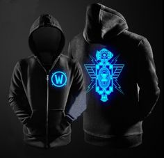 Mens World of Warcraft black hoodie for teens XXXL glow in the dark Dwarf