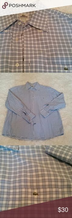 Men's Lacoste long sleeve XL (44) Blue and white checked long sleeve button down shirt. Perfect condition, just back from the dry cleaners. Size 44 lacoste is same as XL in mens. Lacoste Shirts Casual Button Down Shirts