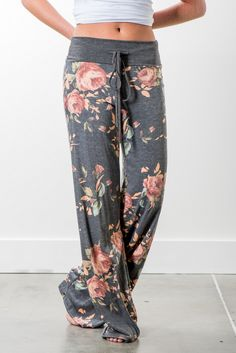RubyClaire Boutique - Garden Wide Leg Loungers | Charcoal, $32.00 (https://www.rubyclaireboutique.com/garden-wide-leg-loungers-charcoal/) Women's Pajama Pants | Yoga Pants | Floral Pajama Pants | Floral Pajamas | Women's Loungewear
