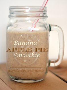 Banana Apple Pie Smoothie ~ what a nice blend of bananas, apples, almonds, vanilla, cinnamon, chia seeds and flax seeds!  Great right before a workout or a quick breakfast.