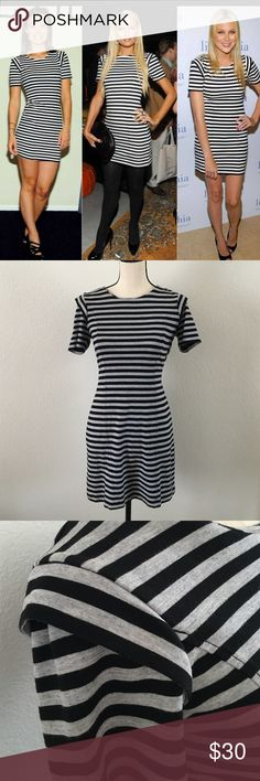 Striped French Connection Dress This form fitting dress has been worn by many celebrities. It's super flattering! Black and light gray stripped, comes to about mid thigh, size 10. Worn once and is in perfect condition. French Connection Dresses