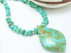 Kingman American Southwest Turquoise Pendant Beaded Sterling Necklace Blue-Green @dianesdangles