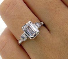 Timeless GIA 2.50ctw DECO Vintage Emerald Cut Diamond Platinum Engagement Wedding Ring
