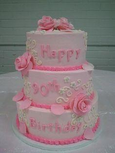 Pink roses...90th birthday cake