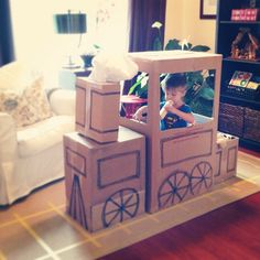 Fun cardboard train- Will has requested this! Trains Birthday Party, Train Party, Blue Birthday, 2nd Birthday Parties, Pirate Party, Birthday Ideas, Cardboard Train, Cardboard Box Crafts, Diy For Kids