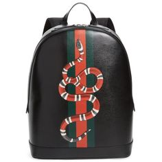 Men's Gucci Snake Print Leather Backpack ($1,980) ❤ liked on Polyvore featuring men's fashion, men's bags, men's backpacks, black, mens leather backpack, gucci mens backpack and mens backpack