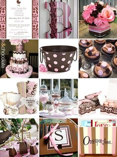 pink and brown baby shower...I like the idea of hanging the monogram as decoration