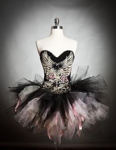 Size medium pink ivory and black Corset wing Prom dress with ribbons Halloween Costume Ready To Ship