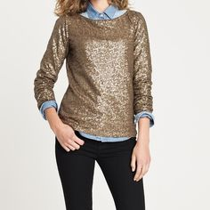 J Crew GLIMMER LONG-SLEEVE TEE Style 62049. Beautiful shirt J. Crew Tops Tees - Long Sleeve