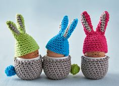 Bunny egg warmers for Easter. Patterns in issue 28 of Simply Crochet