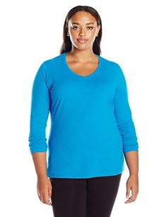 Just My Size Womens Plus Size Vneck Long Sleeve Tee Deep Dive 1X >>> More info could be found at the image url.