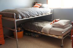 Unique Bed Design Ideas For Kids Bedroom - TopDesignIdeas Bunk Beds With Stairs, Kids Bunk Beds, Unique Kids Beds, Pipe Bed, Diy Bed Frame, Bed Frames, Loft Spaces, Cool Beds, How To Make Bed
