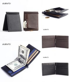 [Visit to Buy] Men Genuine Leather Money Clips Wallet Para Carteras Hombre Card & ID Holder Clamp Money Case With A Metal Clip Zipper Coin bag #Advertisement