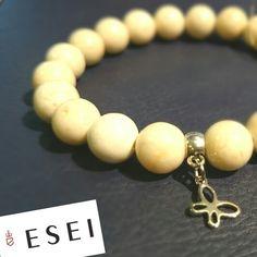 Bransoletka z marmuru piaskowego i elementów antyalergicznych #bransoletka #marmur #jewellery