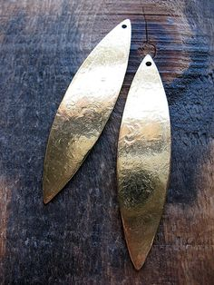 Textured Bright Brass Spear Leaves - 1 pair