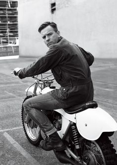 Ewan McGregor on an old Ossa Motorcycle