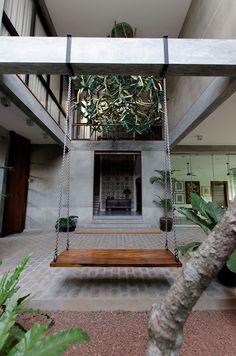 Dream Home Design, Modern House Design, Home Interior Design, Courtyard Design, Courtyard House, Farmhouse Architecture, Modern Architecture House, Modern Tropical House, Tropical House Design