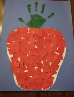 Here is another apple craft that allows me to use a hand print. I love hand print crafts.      You will need: Paper, green paint, brush, ...