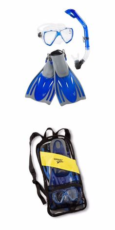 Snorkels and Sets 71162: Speedo Dive Adult Hydroscope Mask Snorkel Fin Set L Xl Blue Shoe Size 9-13 -> BUY IT NOW ONLY: $35.52 on eBay!