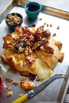 Crescent Wrapped Baked Brie recipe: We love this appetizer for the busy holiday season. It bakes up super quickly and is sure to be a hit with your guests! Potluck Recipes, New Recipes, Favorite Recipes, Party Recipes, Cookbook Recipes, Lima, Holiday Appetizers, Clean Eating Snacks, Kitchens