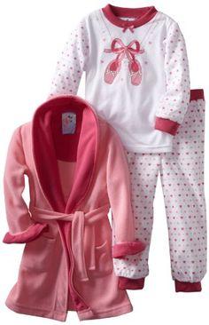 Baby Bunz Girls 2-6X Toddler Ballet 3 Piece Robe And Pajama Set $24.99
