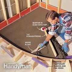 Learn how to build a custom-sized, waterproof shower pan for a curved shower enclosure.