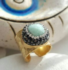 Check out this item in my Etsy shop https://www.etsy.com/listing/482379580/statement-gold-plated-ring-amazonite