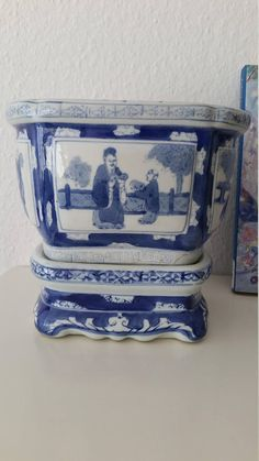 Fascinating muddy rose planter artist made flower pot brown chinese blue white planter chinoiserie reticulated flower pot blue and white hand painted mightylinksfo