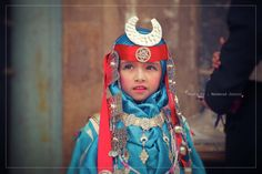 A cute girl with a Libyan traditional dress