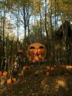 Creepy Pumpkin King in the woods