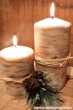 Faux Birch Candles--instead of being only for Christmas time, it could have a burlap ribbon for a cabin-y look!