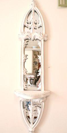 cottage distressd white mirror