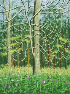 David Hockney, The Arrival of Spring in Woldgate, East Yorkshire in 2011 (twenty eleven) on ArtStack #david-hockney #art