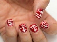 Red and white Christmas nails