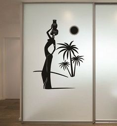 Wall Vinyl Decal Home Decor Art Sticker Beautiful African Style Girl Woman Palm Tree Sun Bedroom Living Room Removable Stylish Mural Unique Design * Details can be found by clicking on the image. (This is an affiliate link) Wall Stickers Murals, Vinyl Wall Decals, African Bedroom, Afro Style, Vinyl Art, Decoration, Palm Trees, Sun, Woman