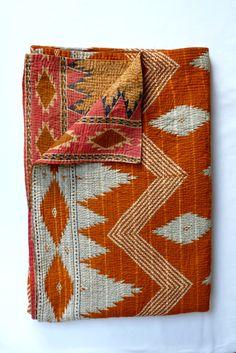 Vintage Kantha Quilt Throw in Burnt Orange