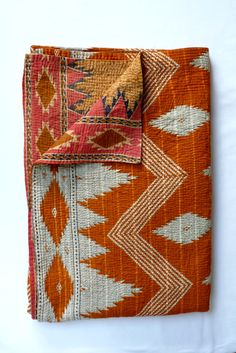 Vintage Kantha Quilt Throw in Burnt Orange