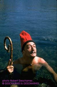 Cape Creus, 1955. Dali with the typical Catalan hat and as a shepherd.