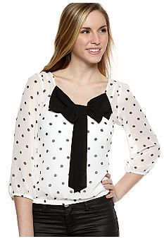 A Byer Dot Print Top with Bow