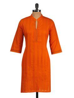 Buy Orange Pin Tuck Cotton Kurta by Mother Home - Online shopping for Kurtas in India   977831
