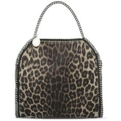 Stella McCartney Falabella Leopard Alter Pony Small Tote ($1,145) ❤ liked on Polyvore featuring bags, handbags, tote bags, leopard print alter pony, tote handbags, stella mccartney, taupe handbag, leopard print purse and stella mccartney purses