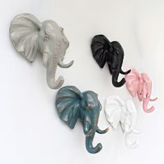 Resin ElephantHead Retro vintage AnimalDecorative Wall Hooks For Decoration hangingsMaterial: ResinColor Choices: Grey, Black, Bronze, White, YellowSize :5 inch x 5.1 inch