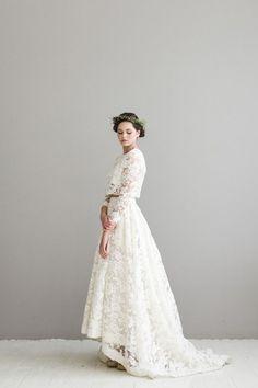 50 Beautiful Long-Sleeved Wedding Dresses: Houghton Bordeaux Two Piece Wedding Dress