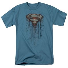 Superman/Shield Drip Short Sleeve Adult T-Shirt 18/1 in Slate