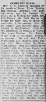 Cemetery Notes, August 23, 1912 :: Cemetery, a Freedmen's Community, Rutherford County, Tennessee