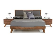 Set Includes: One Queen Size Bed Frame Walnut Veneer Finish Grey Linen Fabric Headboard No Box Spring Required - Slats Included Matching Pieces (Available Separately) Some Assembly Required Product Di