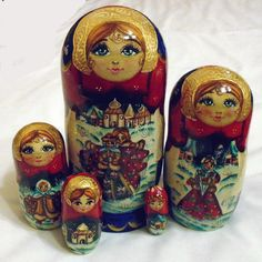 Nidification poupées Russes Matryoshka Babushka chouette marron 5 peint à la main matt signé
