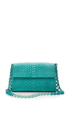 Turquoise Python Skin Shoulder-Bag by Nancy Gonzalez for Preorder on Moda Operandi
