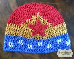 Ravelry: Wonder Woman Hat pattern by Nakesha Haschke Sizes include newborn to adult Grannies Crochet, Crochet Stitches, Crochet Patterns, Hat Patterns, Crochet For Kids, Crochet Baby, Knit Crochet, Free Crochet, Crochet Crafts